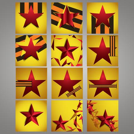 world war ii: Banner, sticker, label, Festival May 9 Victory Day, World War II. Background. Star, St. George ribbon. Illustration
