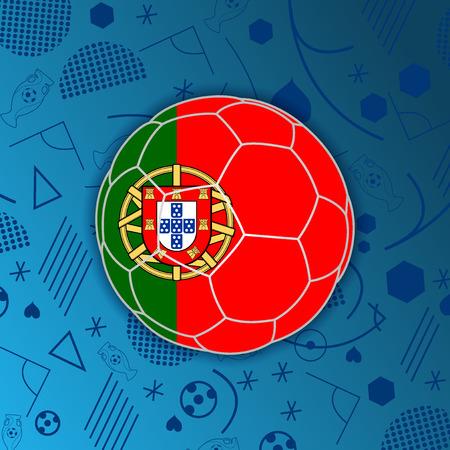 bandera de la República portuguesa en una forma de un balón de fútbol aislado en el fondo abstracto de fútbol.