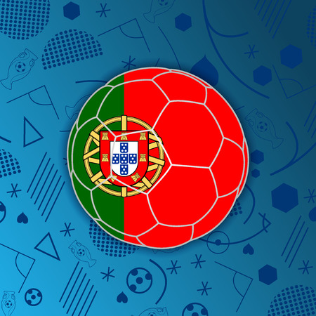 Portuguese Republic flag in a form of a soccer ball isolated on abstract football background.