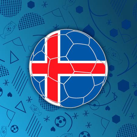 República de la bandera de Islandia en una forma de un balón de fútbol aislado en el fondo abstracto de fútbol.