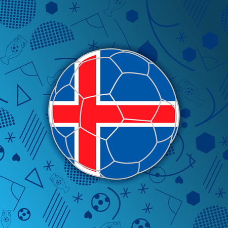 Republic of Iceland flag in a form of a soccer ball isolated on abstract football background.