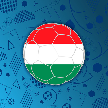 Flag of Hungary in a soccer ball isolated on abstract football background. Vectores