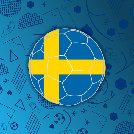 Kingdom of Sweden flag in a soccer ball isolated on abstract football background. Vectores