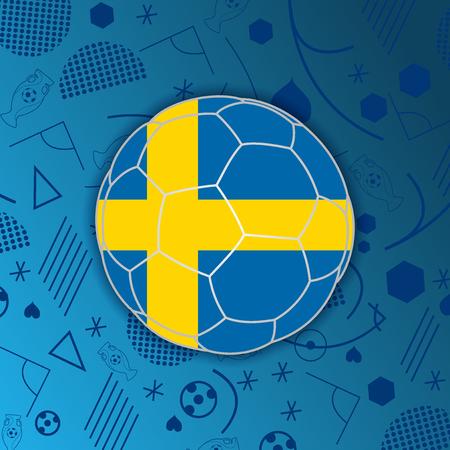 bandera suecia: Reino de la bandera de Suecia en un bal�n de f�tbol aislado en el fondo abstracto de f�tbol.