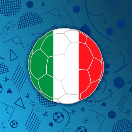 Flag of Italian Republic in a soccer ball isolated on abstract football background.