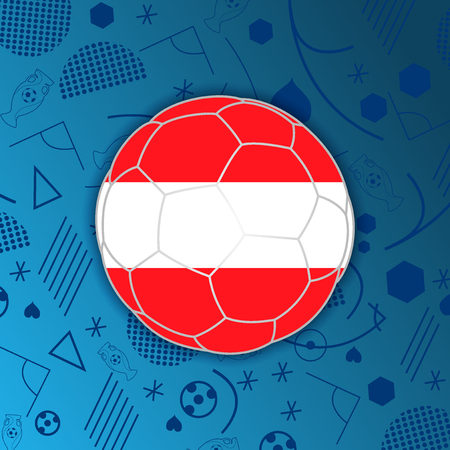 Republic of Austria flag in a soccer ball isolated on abstract football background.
