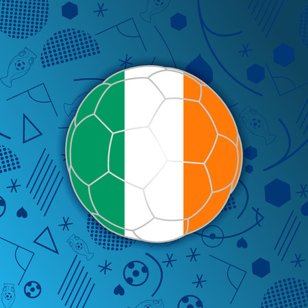 Republic of Ireland flag in a soccer ball isolated on abstract football background. Vectores