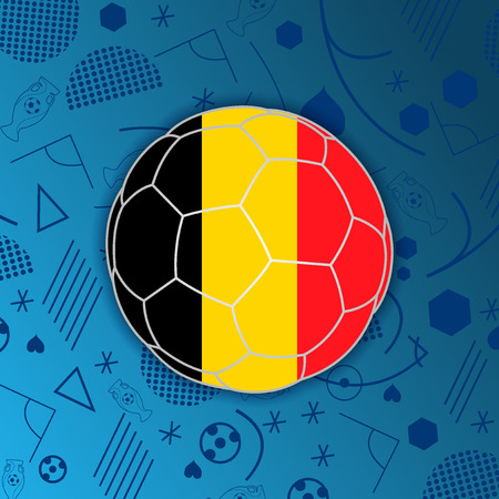 Kingdom of Belgium flag in a soccer ball isolated on abstract football background.