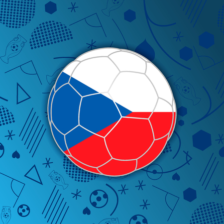 Flag of Czech Republic in a soccer ball isolated on abstract football background.