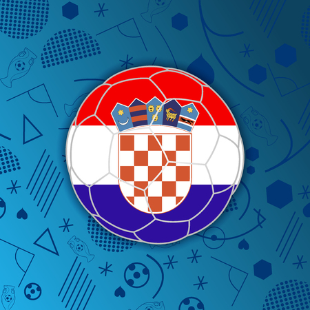 Republic of Croatia in a soccer ball isolated on abstract football background. Vectores