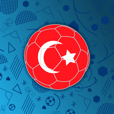 Republic of Turkey in a soccer ball isolated on abstract football background. Vectores