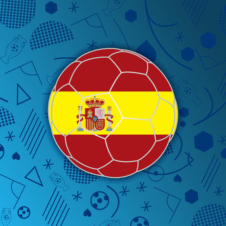 Kingdom of Spain flag in a soccer ball isolated on abstract football background.