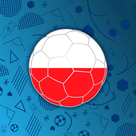 poland flag: Republic of Poland flag in a soccer ball isolated on abstract football background. Poland participant flag web button. Euro cup 2016 France. Group C. Euro 2016 championship. Euro cup. FIFA