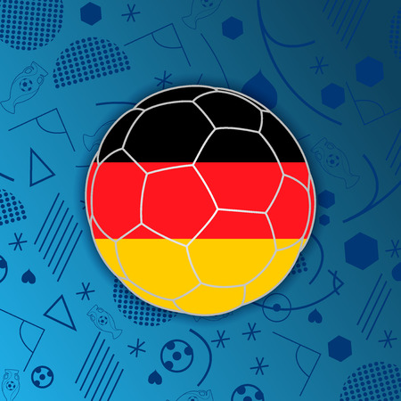 Federal Republic of Germany flag in a soccer ball isolated on abstract football background. Germanparticipant flag web button. Euro cup 2016 France. Group C. Euro 2016 championship. Euro cup. FIFA