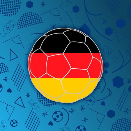 República Federal de Alemania en la bandera de un balón de fútbol aislado en el fondo abstracto de fútbol. Germanparticipant botón de la web bandera. Eurocopa 2016 Francia. Grupo C Eurocopa 2016 campeonato. Eurocopa. FIFA Ilustración de vector