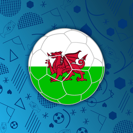 Wales flag in a soccer ball isolated on abstract football background.