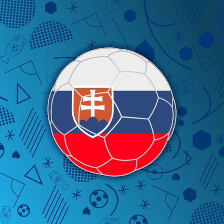 Slovak Republic flag in a soccer ball isolated on abstract football background. Slovakia participant flag web button. Euro cup 2016 France. World soccer cup. Group B. Euro 2016 championship. FIFA