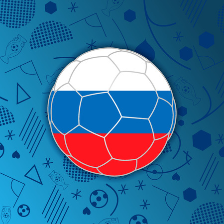 Russian Federation flag in a soccer ball isolated on abstract football background.