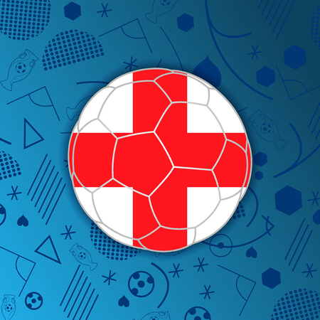 England flag in a soccer ball isolated on abstract football background. Vectores