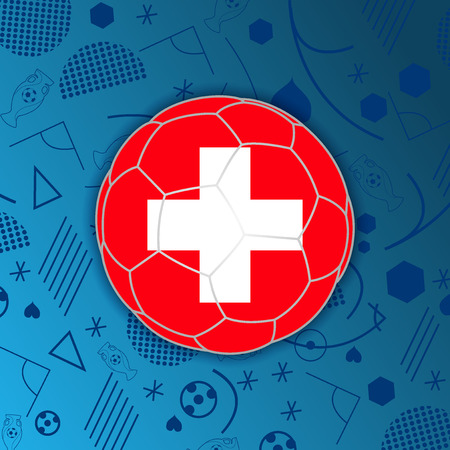 Swiss Confederation flag in a soccer ball isolated on abstract football background.
