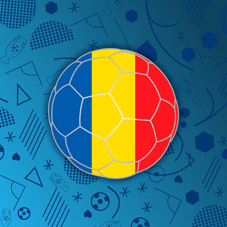 Republic of Romania flag in a soccer ball isolated on abstract football background. Vectores