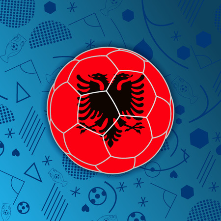 Republic of Albania flag in a soccer ball isolated on abstract football background.