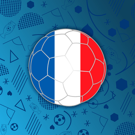 French Republic flag in a soccer ball isolated on abstract football background. Vectores