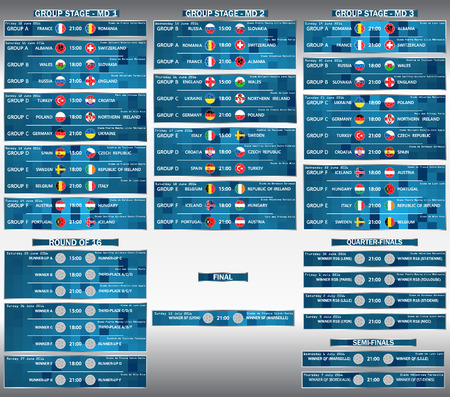 Cup EURO 2016 final match schedule. Football European Championship Soccer final qualified countries Infographic. France Europe tournament participating teams. Stadiums. Time and place of matches. Vector.
