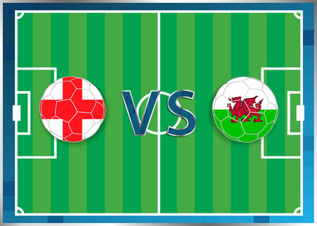 England and Wales flags in a soccer balls isolated on football background. Flag web button. Euro cup 2016 France. Soccer championship. Engand verse Wales. Group B. Euro. UEFA.