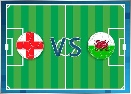 banderas de Inglaterra y Gales en unas pelotas de fútbol aislado en el fondo de fútbol. Bandera botón de la web. Eurocopa 2016 Francia. campeonato de fútbol. Engand verso Gales. Grupo B. Euro. UEFA.