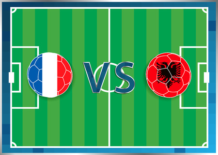 France and Albania flags in a soccer balls isolated on football background. Flag web button. Euro cup 2016 France. Soccer championship. France verse Albania. Group A. Euro. UEFA. Vectores