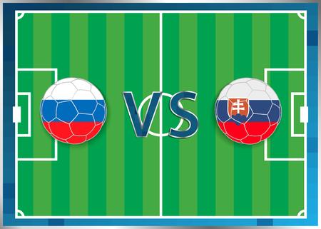 banderas de Rusia y Eslovaquia en unos balones de fútbol aislados en el fondo de fútbol. Bandera botón de la web. Eurocopa 2016 Francia. campeonato de fútbol. Rusia verso Eslovaquia. Grupo B. Euro. UEFA.