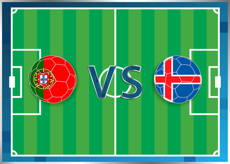 Portugal and Republic of Iceland flags in a soccer balls isolated on football background. Flag web button. Euro cup 2016 France. Soccer championship. Portugal verse Republic of Iceland. Group F. Euro. UEFA.