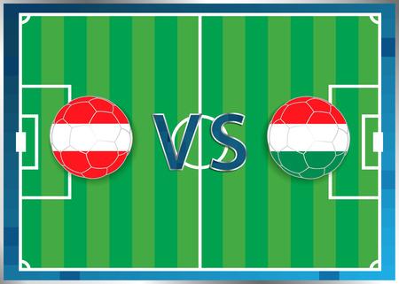 banderas de Austria y Hungría en un balones de fútbol aislados en el fondo de fútbol. Bandera botón de la web. Eurocopa 2016 Francia. campeonato de fútbol. Austria verso Hungría. Grupo F. Euro. UEFA. Ilustración de vector