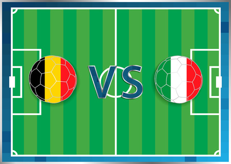 Belgium and Italy flags in a soccer balls isolated on football background. Flag web button. Euro cup 2016 France. Soccer championship. Belgium verse Italy. Group E. Euro. UEFA.
