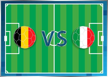 Bélgica e Italia marcadores en una balones de fútbol aislados en el fondo de fútbol. Bandera botón de la web. Eurocopa 2016 Francia. campeonato de fútbol. Bélgica verso Italia. Grupo E. Euro. UEFA.