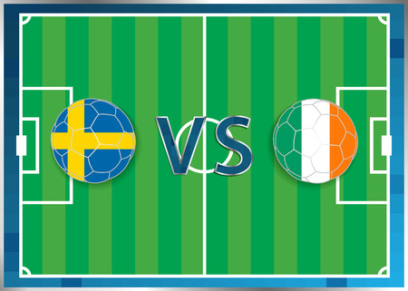 Sweden and Republic of Ireland flags in a soccer balls isolated on football background. Flag web button. Euro cup 2016 France. Soccer championship. Sweden verse Republic of Ireland. Group E. UEFA.