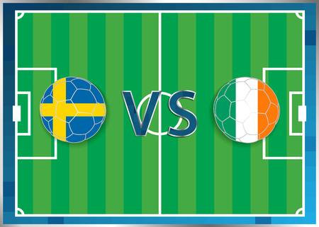 banderas de Suecia y la República de Irlanda en unas pelotas de fútbol aislado en el fondo de fútbol. Bandera botón de la web. Eurocopa 2016 Francia. campeonato de fútbol. Suecia verso República de Irlanda. Grupo E de la UEFA.