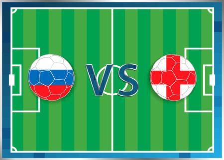 banderas de Rusia e Inglaterra en un balones de fútbol aislados en el fondo de fútbol. Bandera botón de la web. Eurocopa 2016 Francia. campeonato de fútbol. Rusia verso Inglaterra. Grupo B. Euro. UEFA. Ilustración de vector
