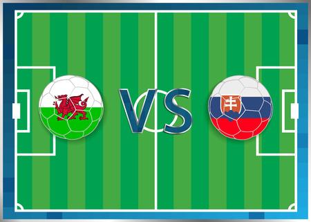 banderas de Gales y Eslovaquia en unos balones de fútbol aislados en el fondo de fútbol. Bandera botón de la web. Eurocopa 2016 Francia. Campeonato de fútbol de Gales verso Eslovaquia. Grupo B. Euro. UEFA.