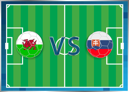 Wales and Slovakia flags in a soccer balls isolated on football background. Flag web button. Euro cup 2016 France. Soccer championship Wales verse Slovakia. Group B. Euro. UEFA.