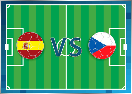 Spain and Czech Republic flags in a soccer balls isolated on football background. Flag web button. Euro cup 2016 France. Soccer championship. Spain verse Czech Republic . Group D. Euro. UEFA.