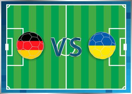banderas de Alemania y Ucrania en un balones de fútbol aislados en el fondo de fútbol. Bandera botón de la web. Eurocopa 2016 Francia. campeonato de fútbol. Alemania verso Ucrania. Grupo C. Euro. UEFA. Ilustración de vector
