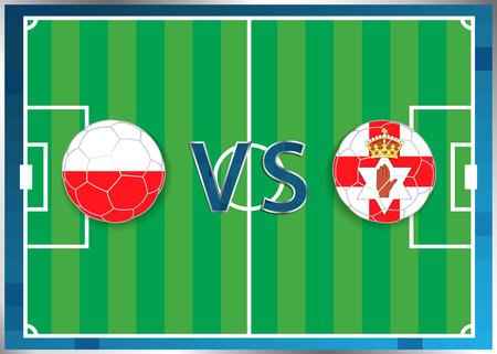 banderas de Polonia e Irlanda del Norte en unos balones de fútbol aislados en el fondo de fútbol. Bandera botón de la web. Eurocopa 2016 Francia. campeonato de fútbol. Polonia verso Irlanda del Norte. Grupo C. Euro. UEFA.