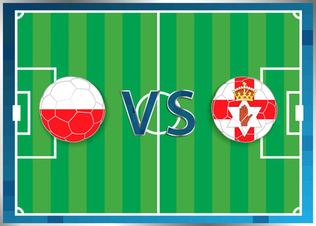 Poland and Northern Ireland flags in a soccer balls isolated on football background. Flag web button. Euro cup 2016 France. Soccer championship. Poland verse Northern Ireland. Group C. Euro. UEFA. Illustration