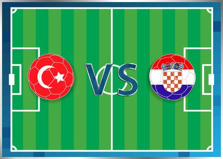 banderas de Turquía y Croacia en unos balones de fútbol aislados en el fondo de fútbol. Bandera botón de la web. Eurocopa 2016 Francia. campeonato de fútbol. Turquía verso Croacia. Grupo D. Euro. UEFA.