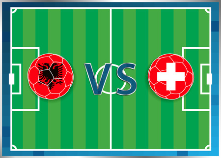 Albania and Switzerland flags in a soccer balls isolated on football background. Flag web button. Euro cup 2016 France. Soccer championship Albania verse Switzerland. Group A. Euro. UEFA.