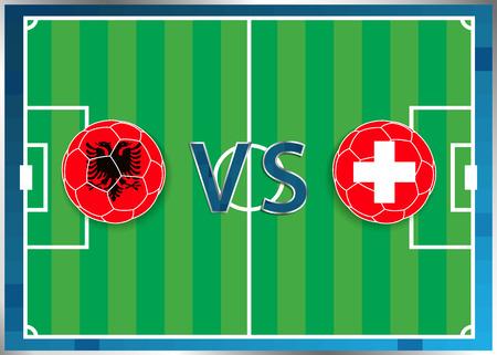 banderas de Albania y Suiza, de los balones de fútbol aislados en el fondo de fútbol. Bandera botón de la web. Eurocopa 2016 Francia. Campeonato de fútbol de Albania verso Suiza. Grupo A. Euro. UEFA. Ilustración de vector