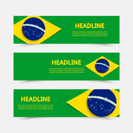 spanned: Brazil flag over green background. Summer  games 2016. RIO. Bandeira do Brasil. Blue disc depicting a starry sky spanned by a curved band inscribed with the national motto Ordem e Progresso.
