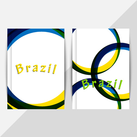 Brochure design in summer style. Holiday, vacation poster. Vector illustration. Symbol colors of summer  games 2016. RIO. Web sites, page, leaflet, with colored lines and waves,  and text separately. Sport concept banners